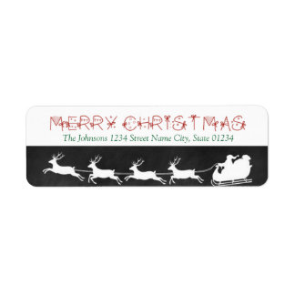 Chalkboard Santa Sleigh Return Address Label