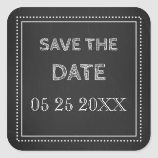 Chalkboard Save the Date Envelope Seal Square Sticker