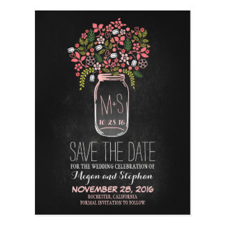 Chalkboard save the date - Floral Mason Jar Postcard
