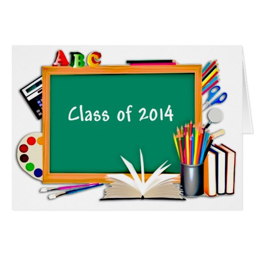 Chalkboard & School Supplies Collage Class of 2014 Cards