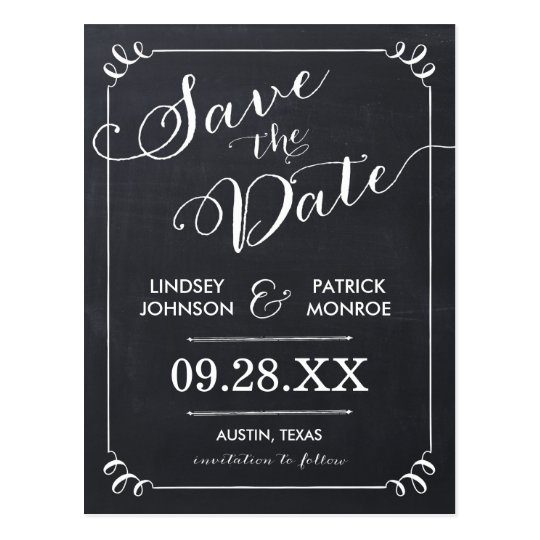 Chalkboard Script Modern Typography Save the Date Postcard