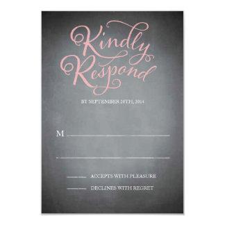 Chalkboard Script Pink Response Custom Invite