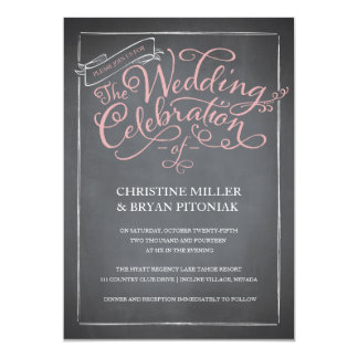 """Chalkboard Script Pink Wedding Invitation 5"""" X 7"""" Invitation Card"""