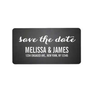 Chalkboard Script Save the Date Address Label