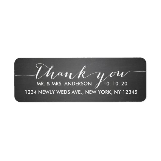 Chalkboard Script Wedding Thank You Return Address Label