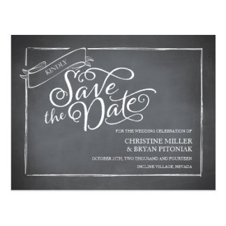 Chalkboard Script White Save the Date Postcard