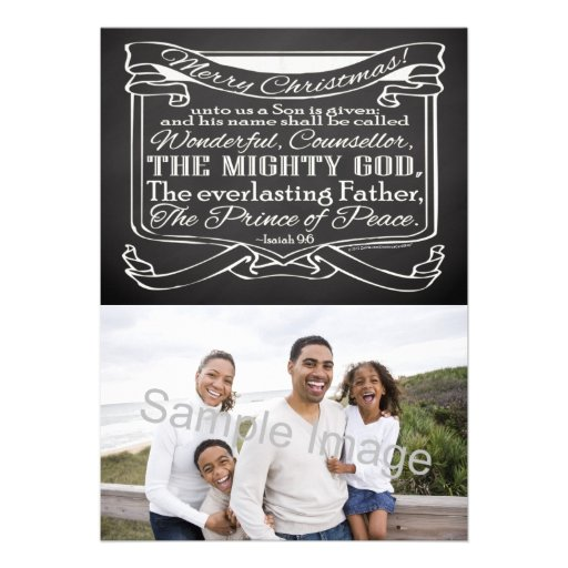 Chalkboard Scripture Christmas Personalized Announcements