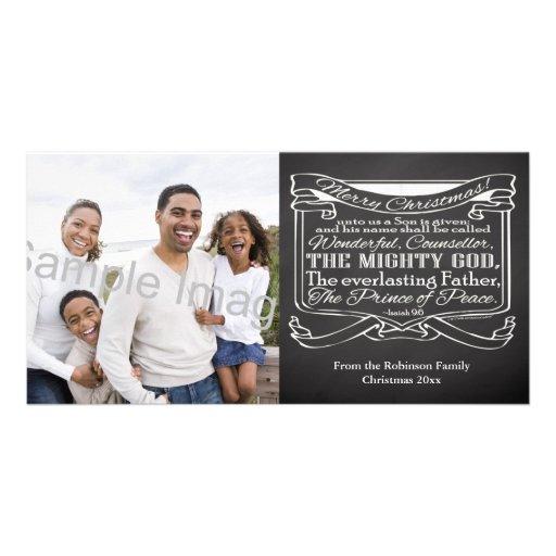 Chalkboard Scripture Christmas Customized Photo Card