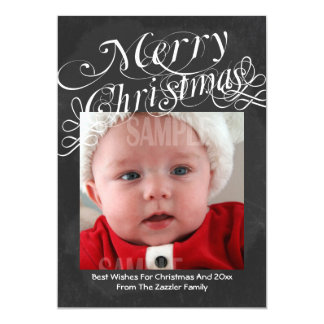 Chalkboard Scroll Font Merry Christmas Template Card