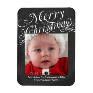Chalkboard Scroll Font Merry Christmas Template Rectangular Photo Magnet