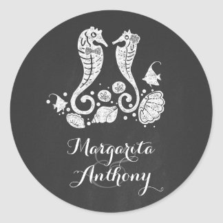 Chalkboard Seahorses Beach Wedding Classic Round Sticker