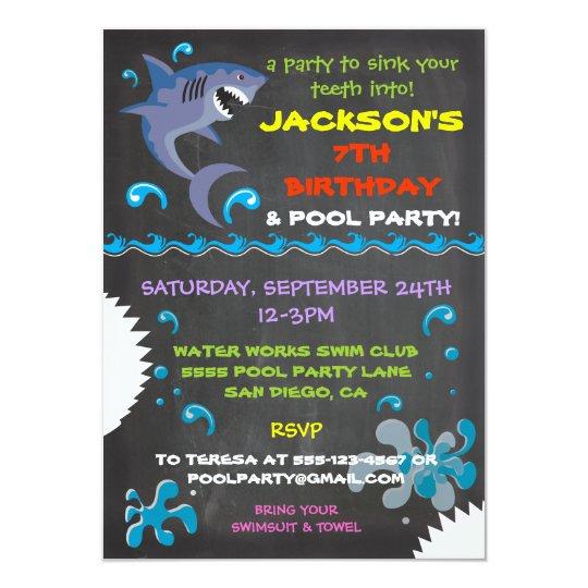 Chalkboard Shark Pool Birthday Party Invitations