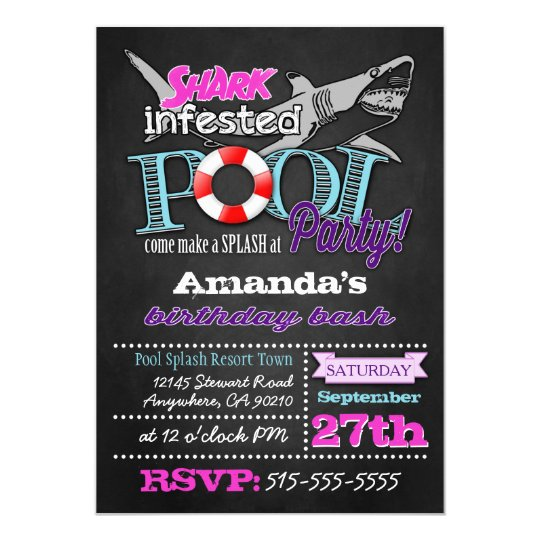 Chalkboard Shark Pool Party Birthday Invitations