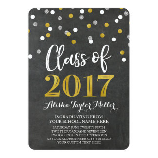 Chalkboard Silver Gold Confetti Photo Graduation Card