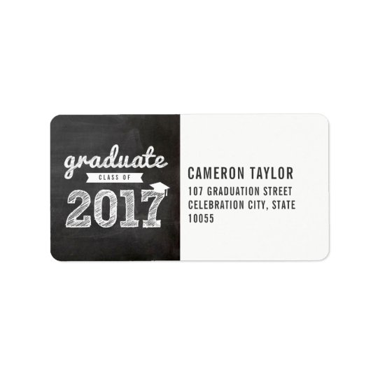 Chalkboard Sketch 2017 Graduation Address Labels