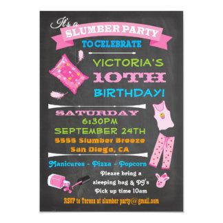 "Chalkboard Sleepover Slumber Party Spa Birthday 5"" X 7"" Invitation Card"