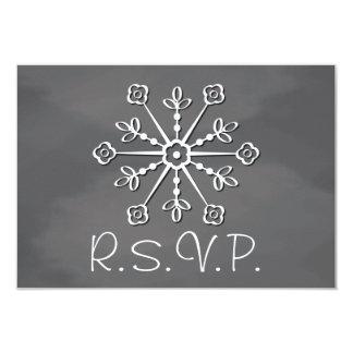 Chalkboard Snowflake Wedding RSVP Response Card