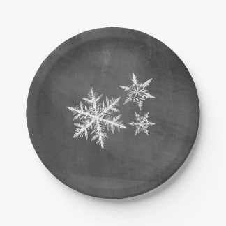 Chalkboard Snowflakes | Merry Christmas 7 Inch Paper Plate