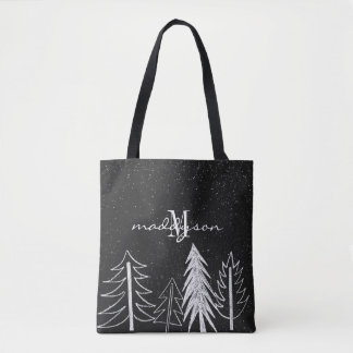 Chalkboard Snowy Trees Monogram Tote Bag