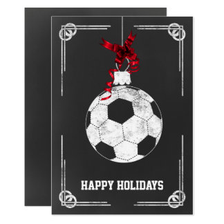 chalkboard soccer player Christmas Cards