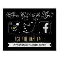 Chalkboard Social Media Hashtag Wedding Poster