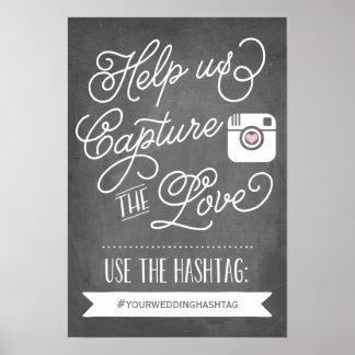 Chalkboard Social Media Hashtag   Wedding Decor Poster
