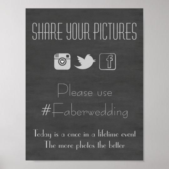 Chalkboard Social Media Wedding Photo Hashtag Sign