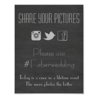 Chalkboard Social Media Wedding Photo Hashtag Sign Poster