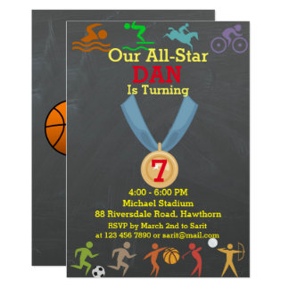 Chalkboard Sports Birthday Invitation
