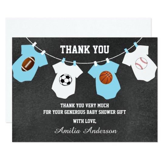 Chalkboard Sports Theme THANK YOU baby shower Card