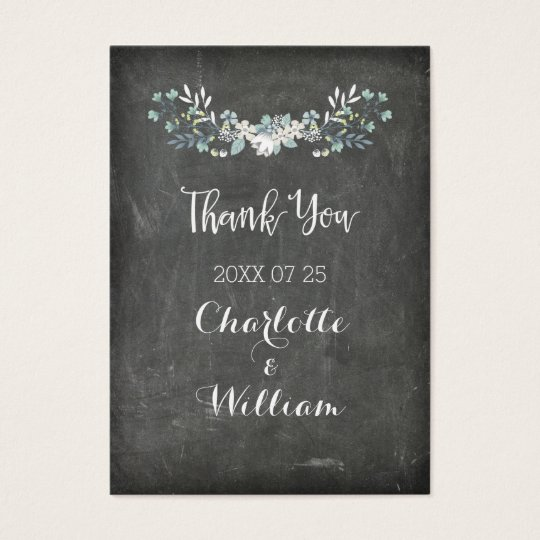 Chalkboard Spring Flowers Wedding Favour Tags