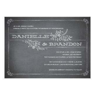 Chalkboard Stencil White Wedding Invitation