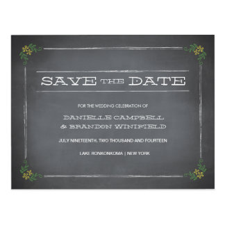 Chalkboard Stencil Yellow Save the Date Postcard