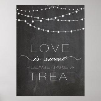 Chalkboard string lighs LOVE is Sweet Sign Poster