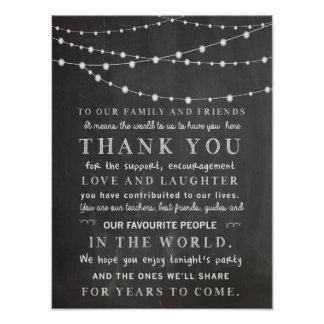 Chalkboard string lights - thank you wedding poster