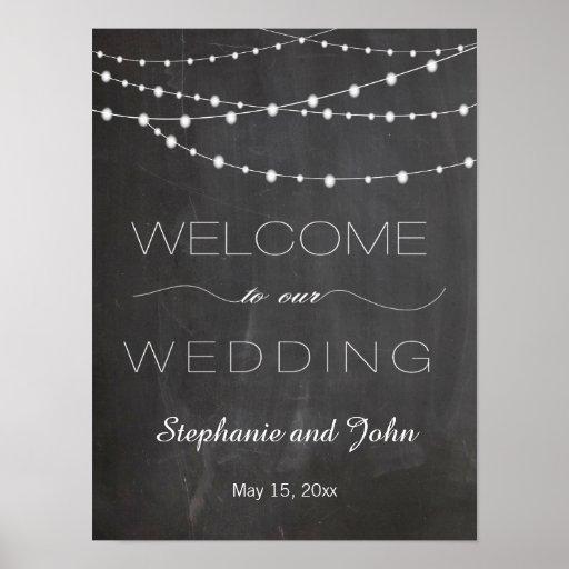 Chalkboard string lights Welcome wedding sign