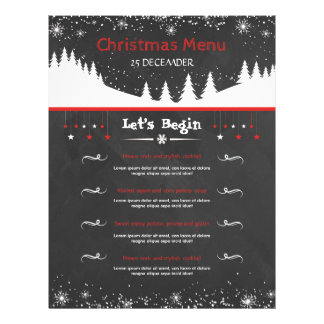 Chalkboard Style Christmas Menu Card 21.5 Cm X 28 Cm Flyer