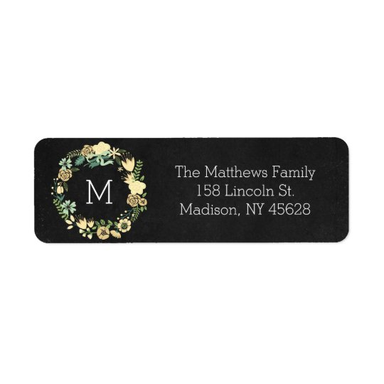 Chalkboard Style Floral Monogram Address Label