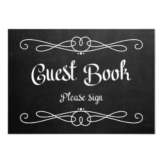 """Chalkboard Style """"Guest Book"""" Wedding Sign Card"""