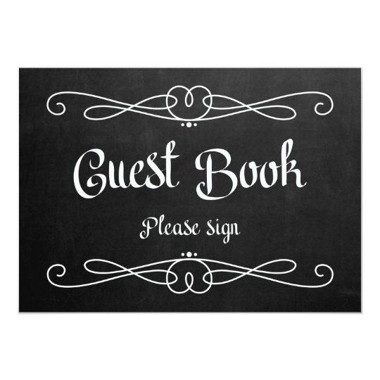 "Chalkboard Style ""Guest Book"" Wedding Sign Card"
