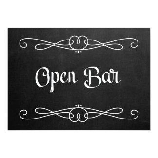 "Chalkboard Style ""Open Bar"" Wedding Sign Card"