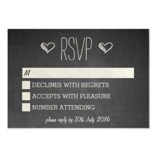 Chalkboard Style RSVP 9 Cm X 13 Cm Invitation Card
