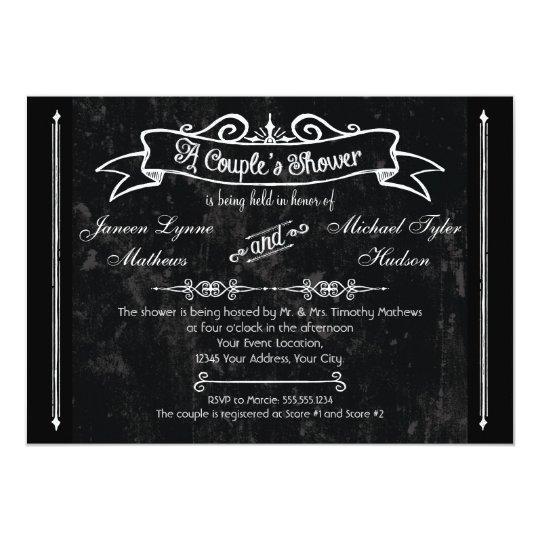 Chalkboard Style Rustic Swirl Couples Shower Card