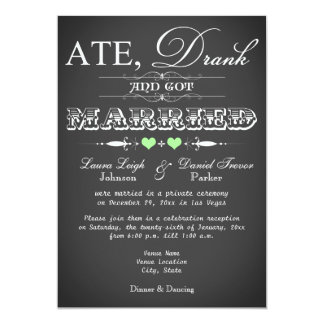 "Chalkboard Style Wedding Reception Only Invite 5"" X 7"" Invitation Card"