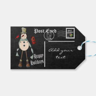 Chalkboard Styled Snowman Postcard   Christmas Gift Tags