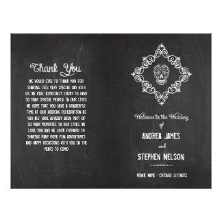 Chalkboard Sugar Skull Flourish Wedding Programs 21.5 Cm X 28 Cm Flyer