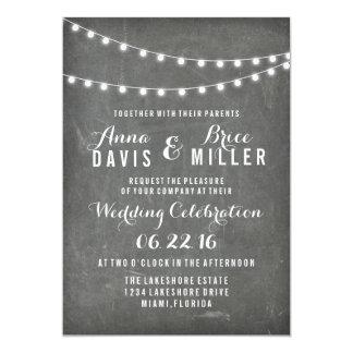 Chalkboard Summer String Light Wedding Invites