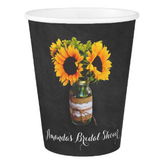 Chalkboard Sunflower Jar Bridal Shower Party Cups