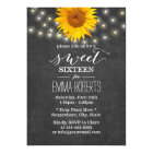 Chalkboard Sunflower & String Lights Sweet 16 Card