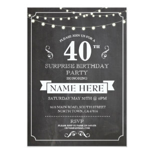 Chalkboard Surprise Birthday Party 40th Invite